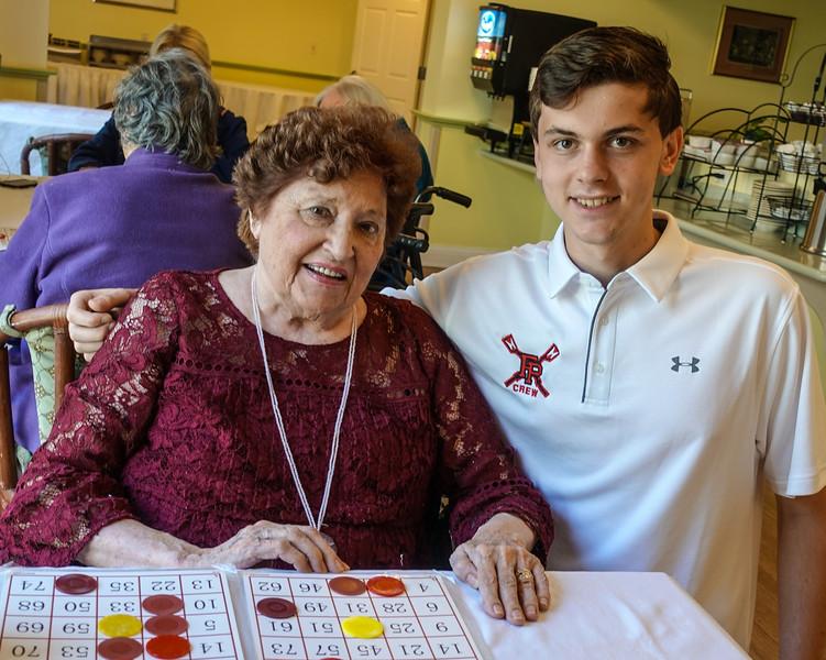 senior and grandson